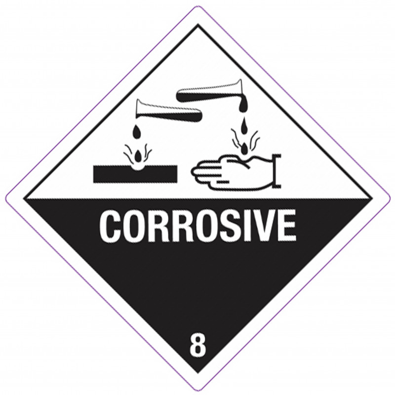 """Etiqueta """"Sustancias Corrosivas"""" Clase 8"""
