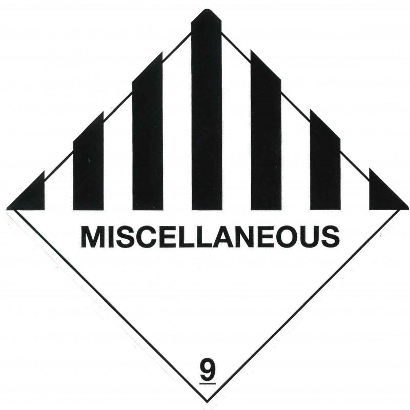"""Class 9 Label """"Miscellaneous Dangerous Goods"""""""