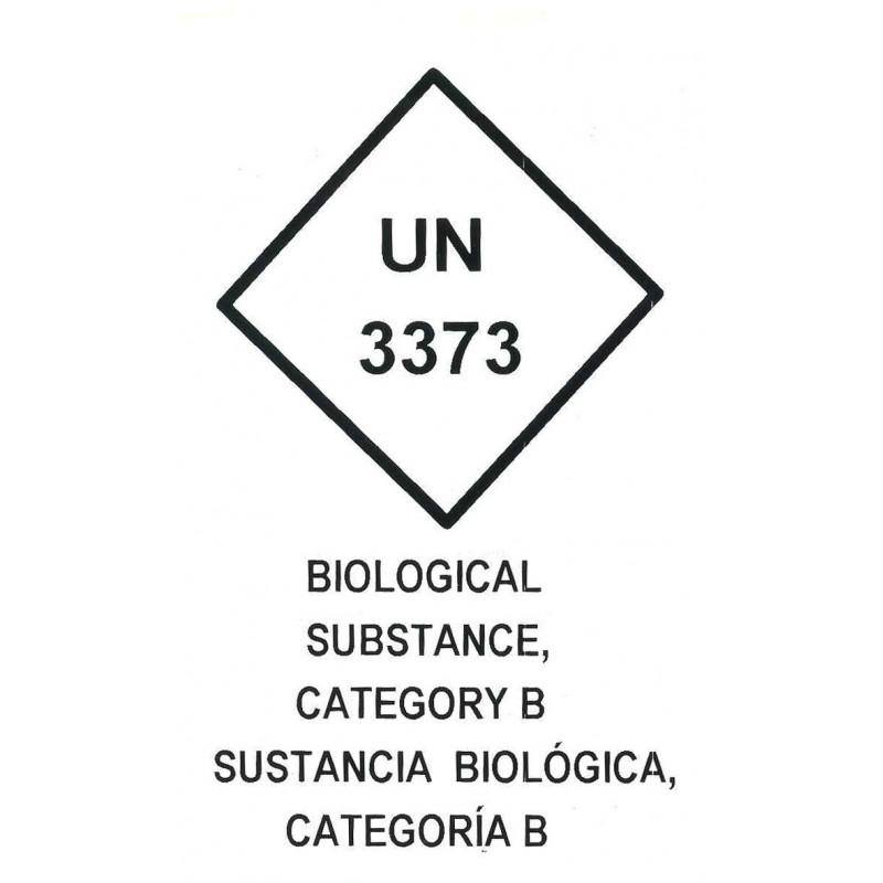 """Etiqueta """"Sustancias Biológicas"""" Categoría B"""