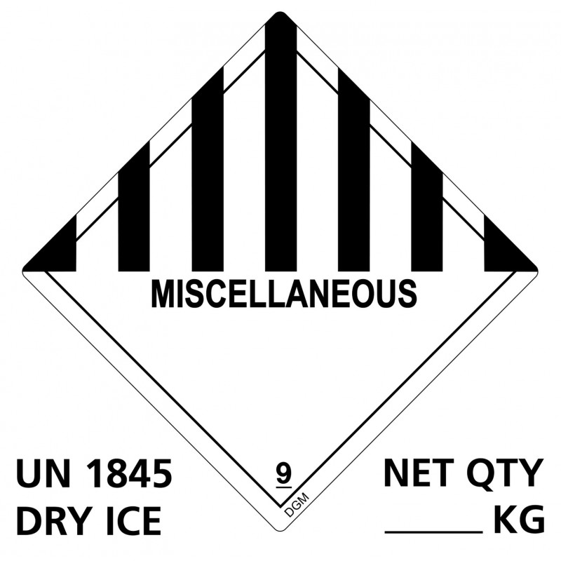 "Etiqueta ""Miscellaneous DRY ICE - UN 1845"""